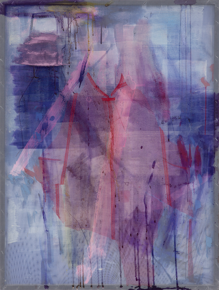 İrfan Önürmen   D Series No. 14 , 2016  textile materials, acrylic and layers of tulle stretched on canvas  35.43 x 27.56in. (90 x 70cm)
