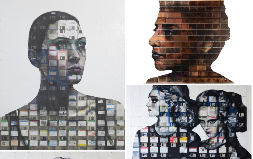 Left: Digital Montage Number 9, 2015, Oil paint and used computer floppy disks Right Top: We Were There, 2014, Film negatives and resin on glass panel