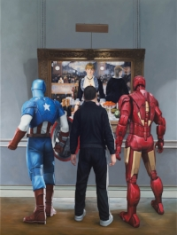 Marc Dennis, Ironman, Captain America and a Russian Mobster Walk into a Bar, 2015, Oil on Linen, 80 x 60in., 203.2 x 152.4cm.