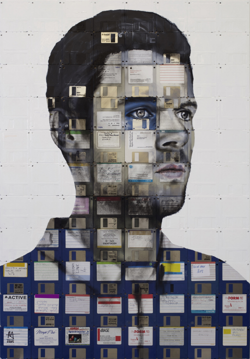 Arcade, 2015, Oil paint and used computer disks on wood, 40.5 x 28.35in. (103 x 72cm)