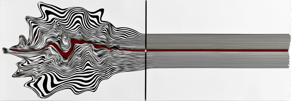 Bullet, 2016, metallic paint on 300 gr 80 pieces on Bristol paper cut out, 36.02 x 87.4 x 2.17in. (91.5 x 222 x 5.5cm)