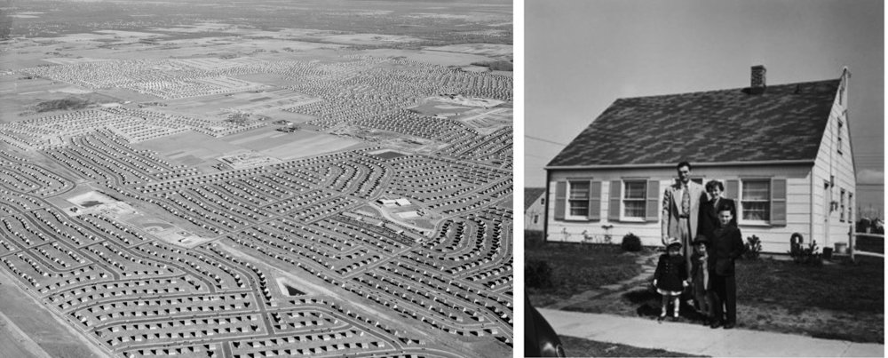 The image to the left shows an aerial photograph of Levittown, NY, 1949. The image to the right shows the traditional Cape-Cod style Levittown house (circa 1950).