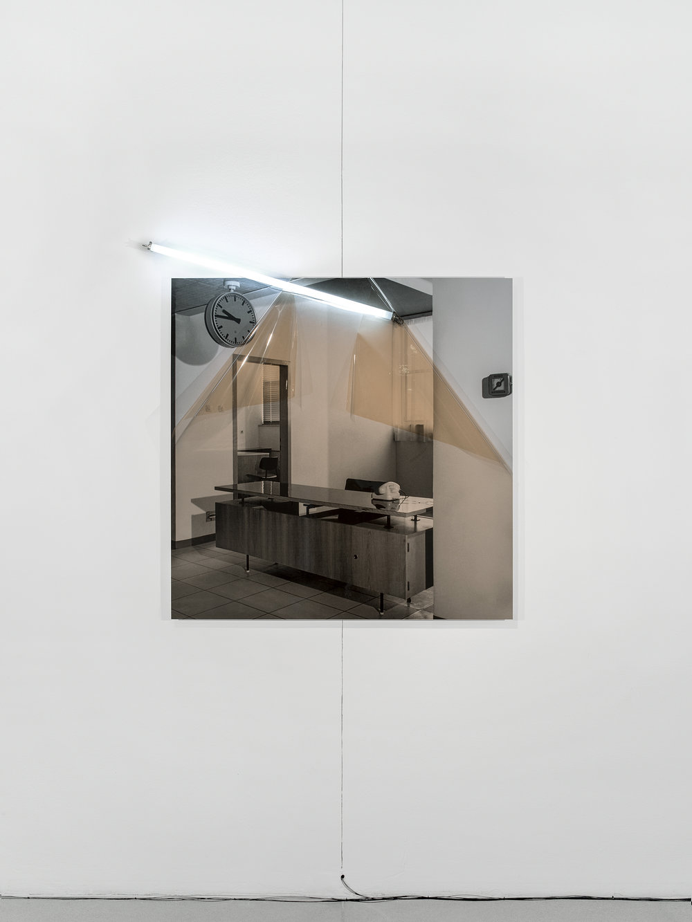 Untitled (Archive ST3: Military Hospital) , 2017  Inkjet print on archival paper mounted on aluminum composite panel, color correction filter, fluorescent light tube, electrical fittings.  49.61 x 49.61 x 1.97in. (126 x 126 x 5cm)