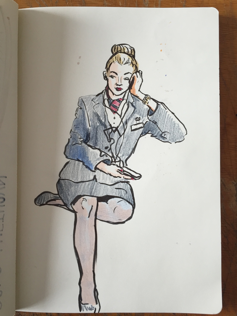 Air Hostess after a flight - London Underground