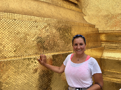 Sara at the Golden Stupa in The Temple of the Emerald Buddha