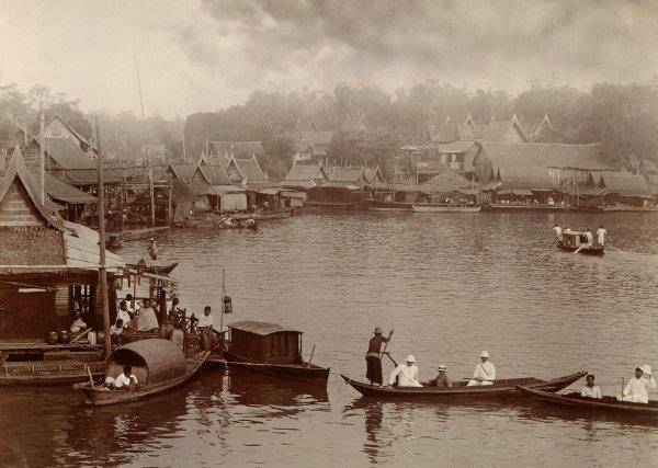 Floating Houses on the Chao Phraya River, Bangkok in 1930s.
