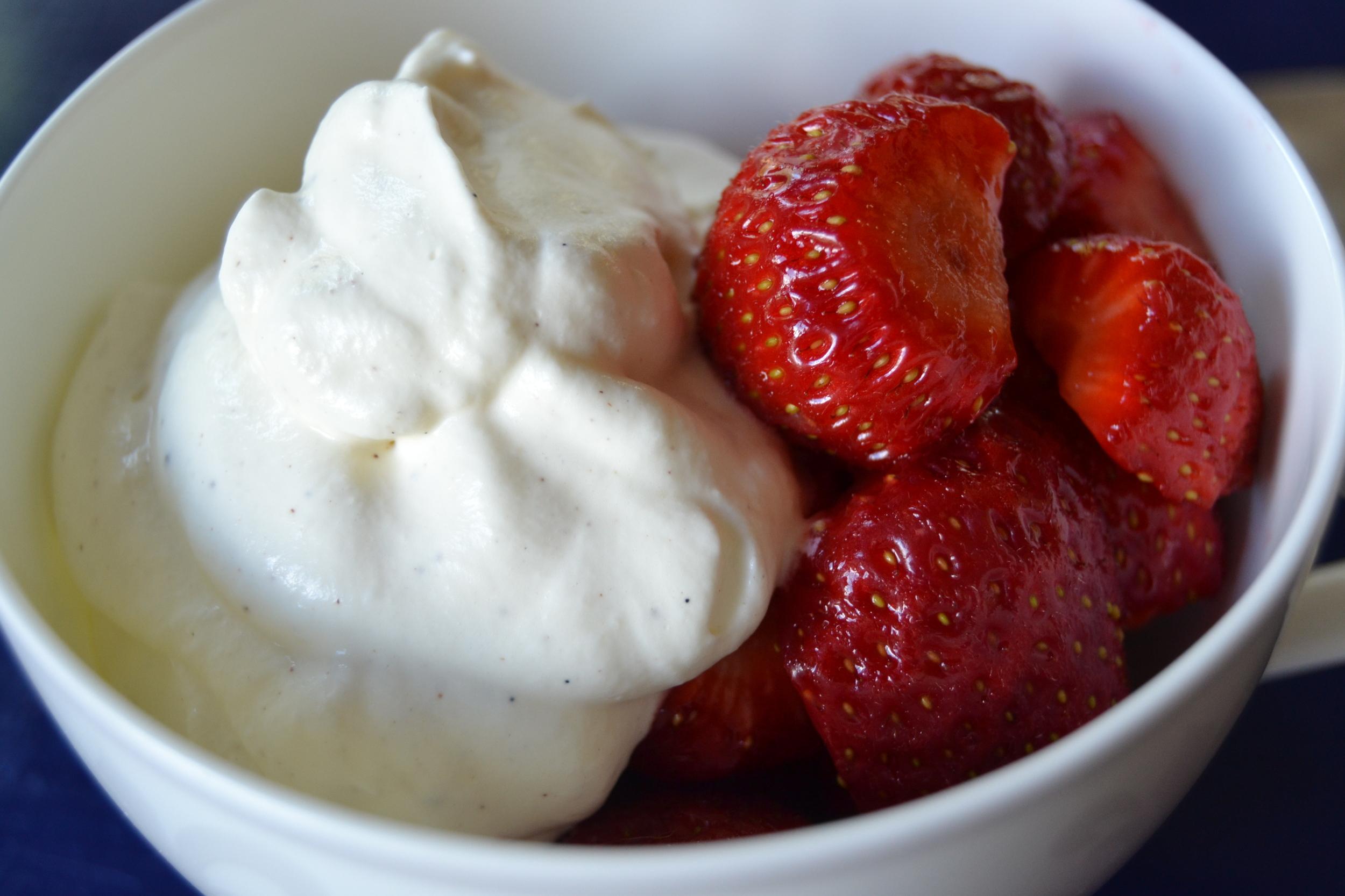 jordbær med krem