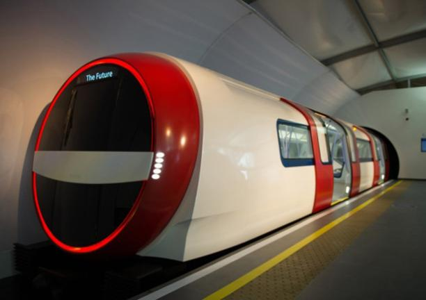 An artist's impression of a driverless train on the London Underground. Personally, I'm not too sure about the idea of the doors being open as it comes through the tunnel...  image copyright  Lucy Young