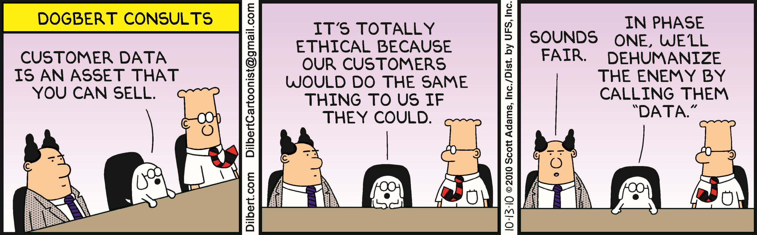 An example of how not to think about user privacy and customer data Source www.dilbert.com