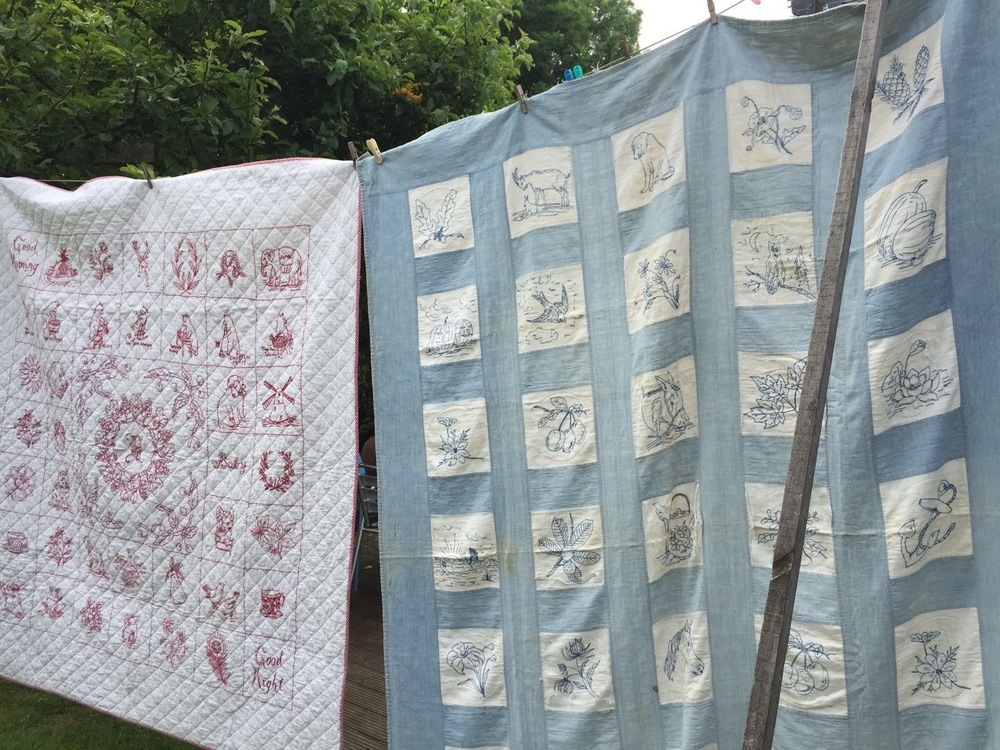 Two vintage American quilts that are my source of inspiration for the British Penny Square Quilt