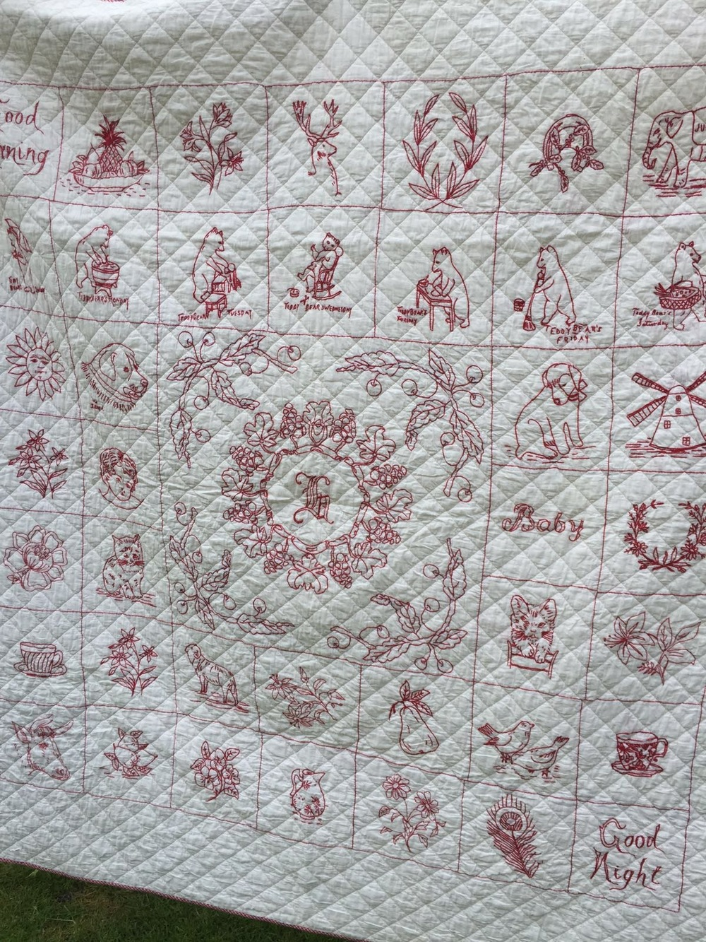 "Each month you will receive a 10"" block motif delivered digitally direct to your email in box. The motifs are inspired by this American vintage redwork quilt but all will be British themed."