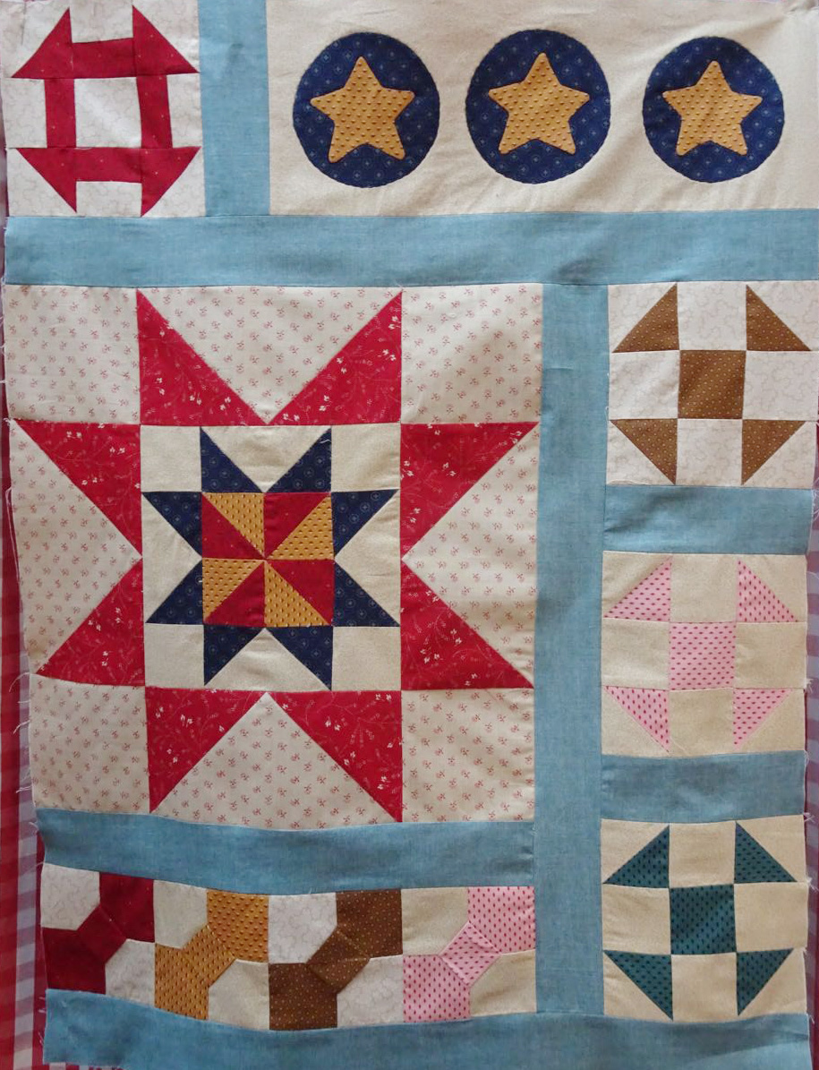 A section of the Harriet Tubman Quilt made up on the new colour way.