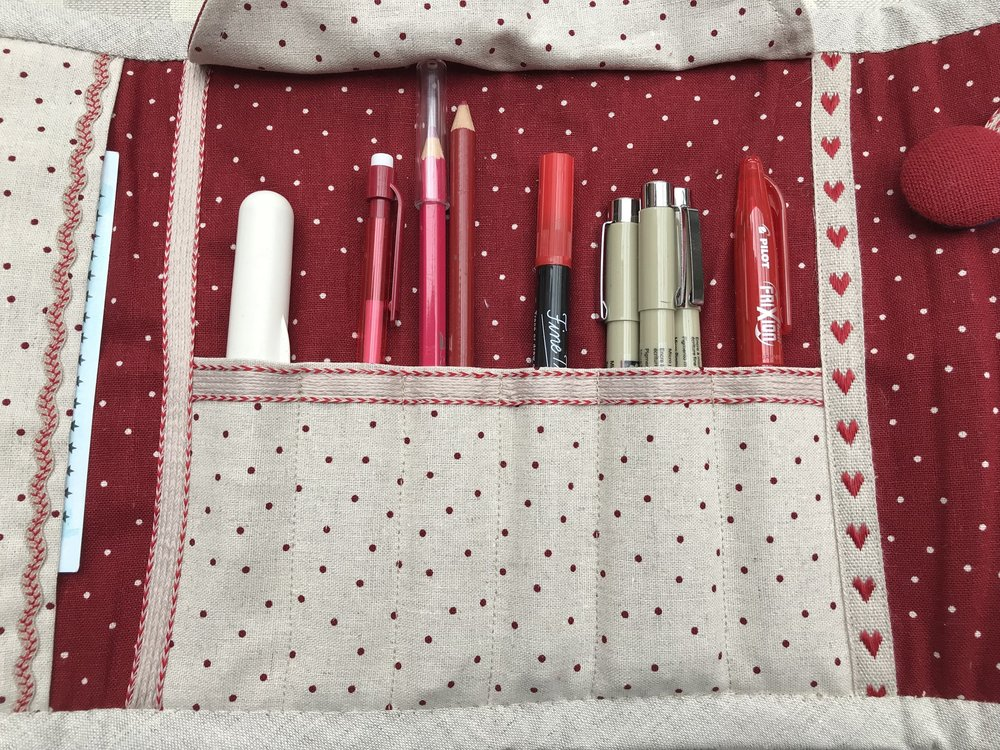 The pattern for your Secret Society Pencil Roll was inspired by a trip to Tate Modern.