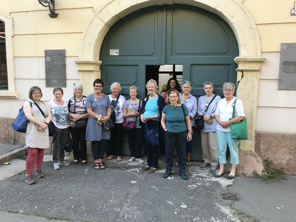 Some of the lovely ladies I have met on my travels. This group outside the Fabric Museum in Budapest