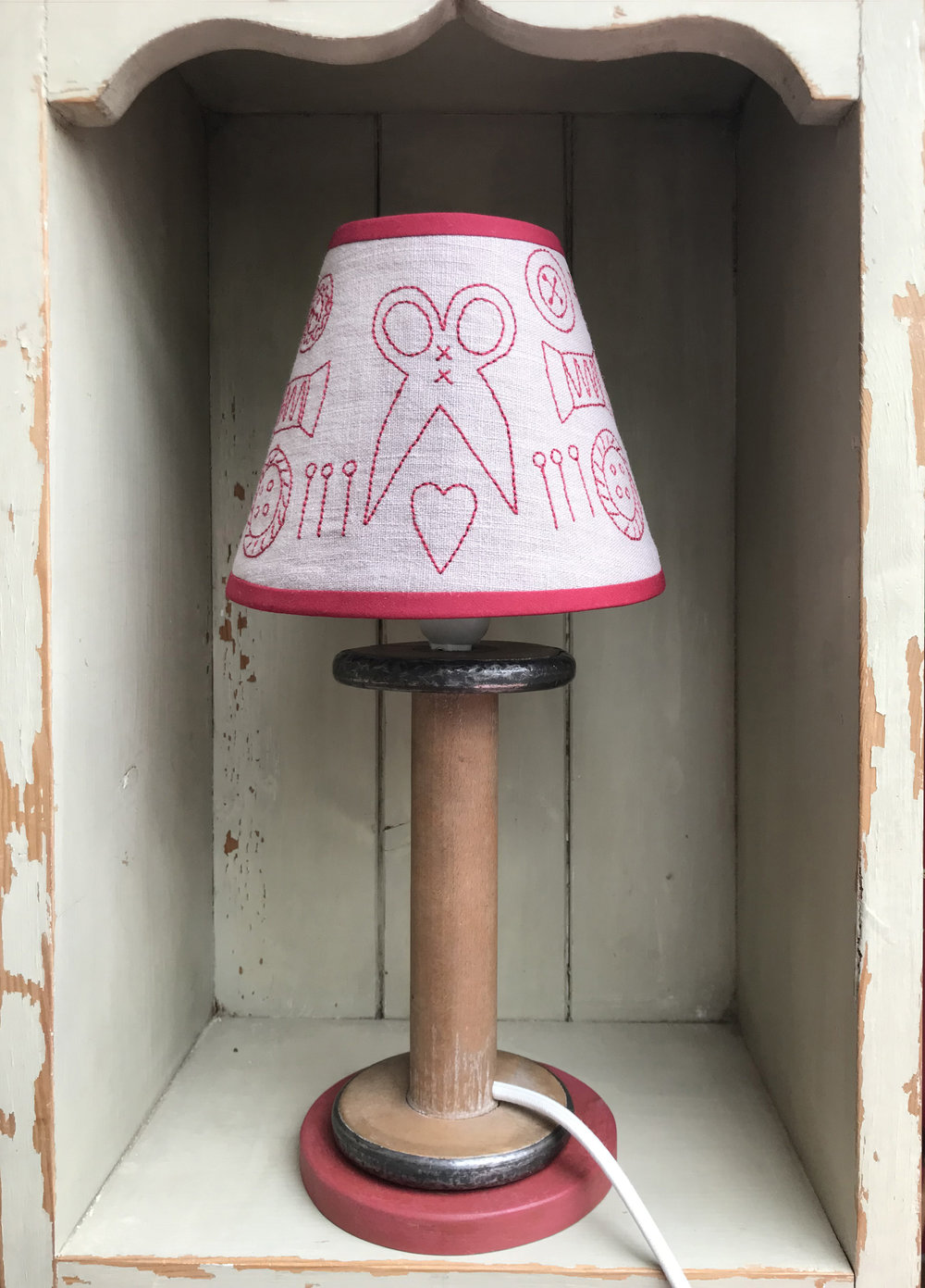 These unique  lamp stands  are made especially for Dandelion Designs from Antique Spools.