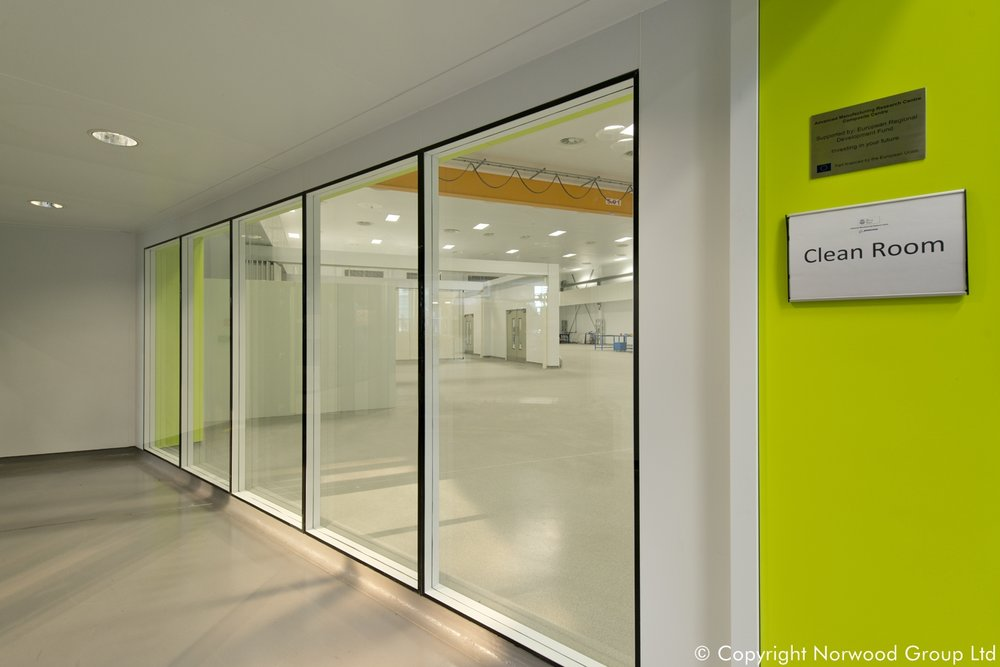 AMRC Manufacturing Facility with Bespoke Antibacterial Steel Cleanroom with Glazed Partitions
