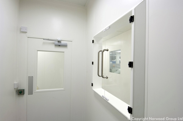 Sheffield University Cleanroom Laboratory Flush Glass Access Hatch