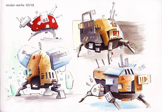 Robots in marker flavour, anyone ?🚮♻❎ . . . #creature #markerdrawing  #copicsketch  #tripod #blackliner #animalart #animalart #sketchpage #quadros  #markerart #sketchmarker  #sketchbookx  #copicfun #nicolai #artink #concepts #sketchy #conceptual_art  #funconcept #drawforfun #funnyart #followmeto  #copics  #colormarkers #funideas