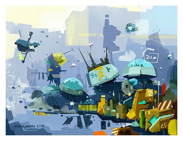 Hello, here is my first post this year, hope you like it 👋☺ . . . #abstractart #nicolai #mysketchbook #artdigital  #fantasticart #conceptdrawing  #myworkplace  #scififantasy #digitart #cityscape #sketchbook #artday #workeveryday  #conceptualart #robotstation #artistsofig #buildingart #brushstroke