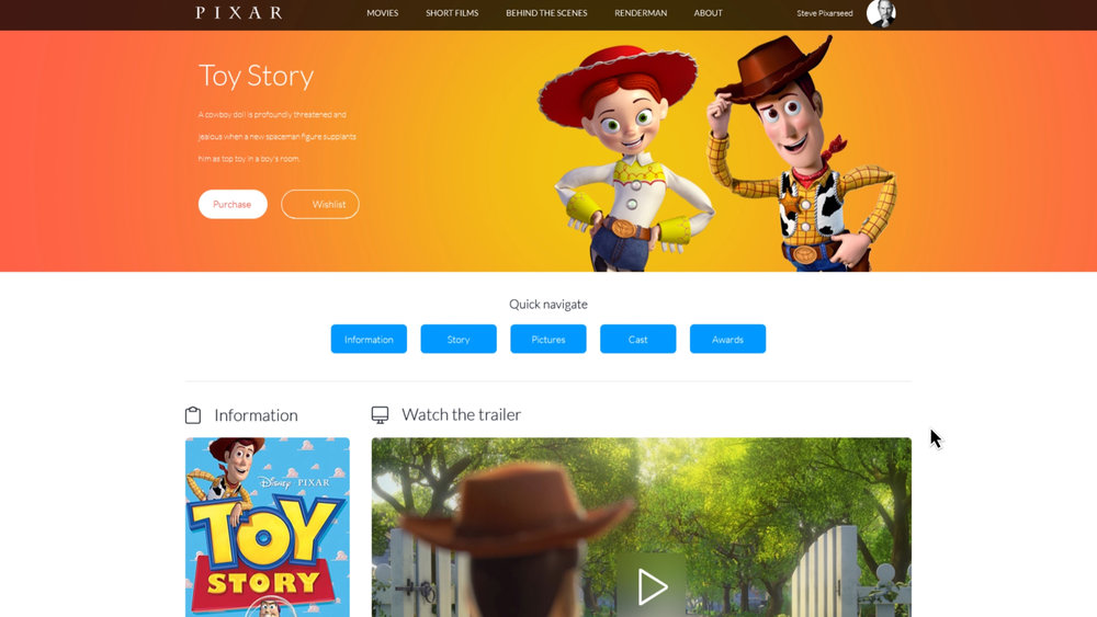 Movies Page - Toy Story