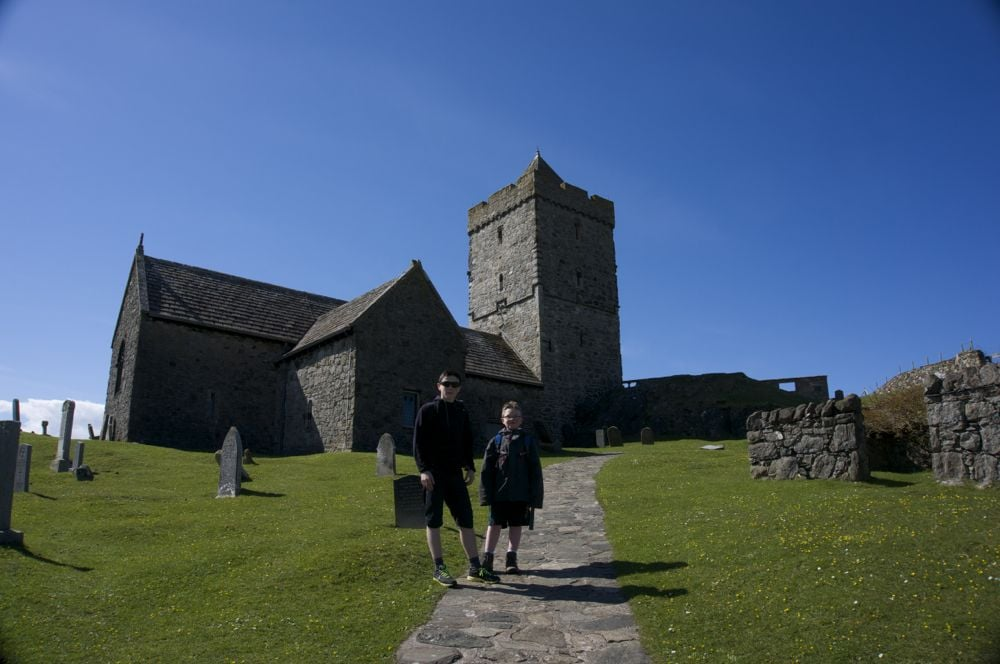 Boys at St. Clements, Rodel, Isle of Harris.