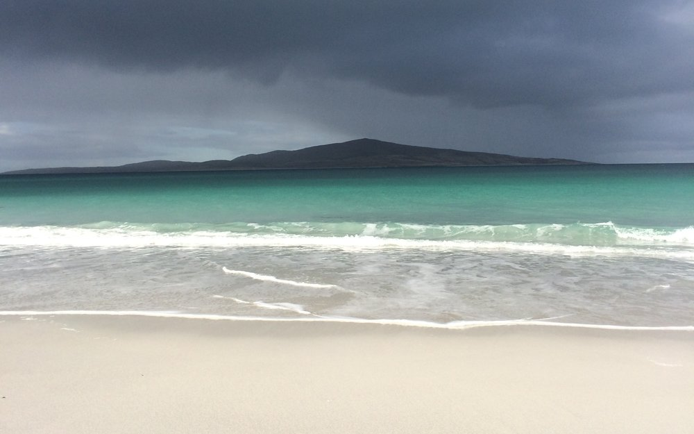 Waves breaking on the West-side of Berneray looking out to the Isle of Pabbay.