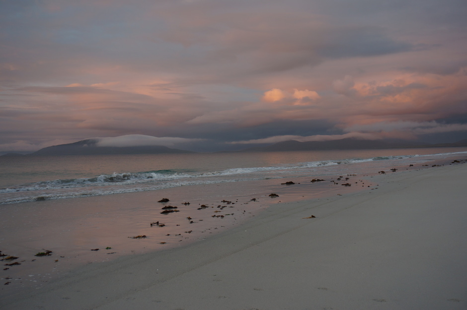 Autumn dusk light on the West side of Berneray.