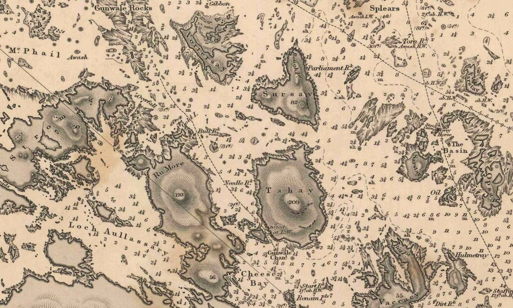 First Admiralty Chart of Sound of Harris dating 1857 (detail of Cheese Bay islands).