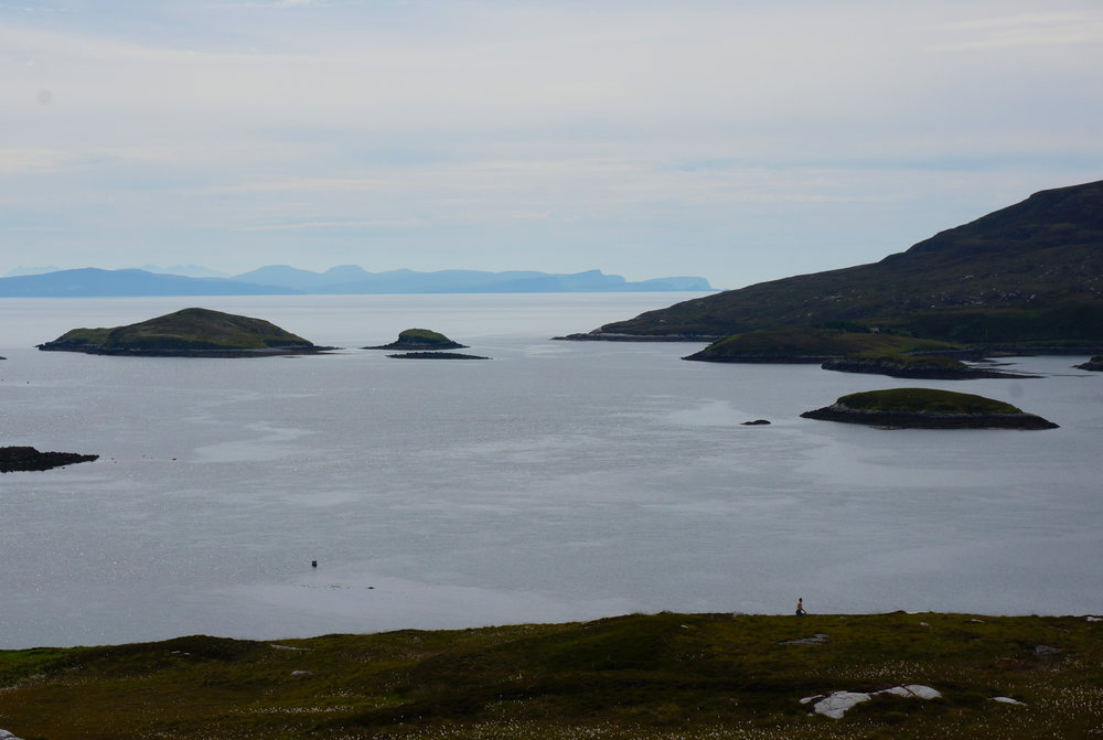 From the top of Tahay looking out across the Minch to the Isle of Skye, my fellow sheep gatherer down below.