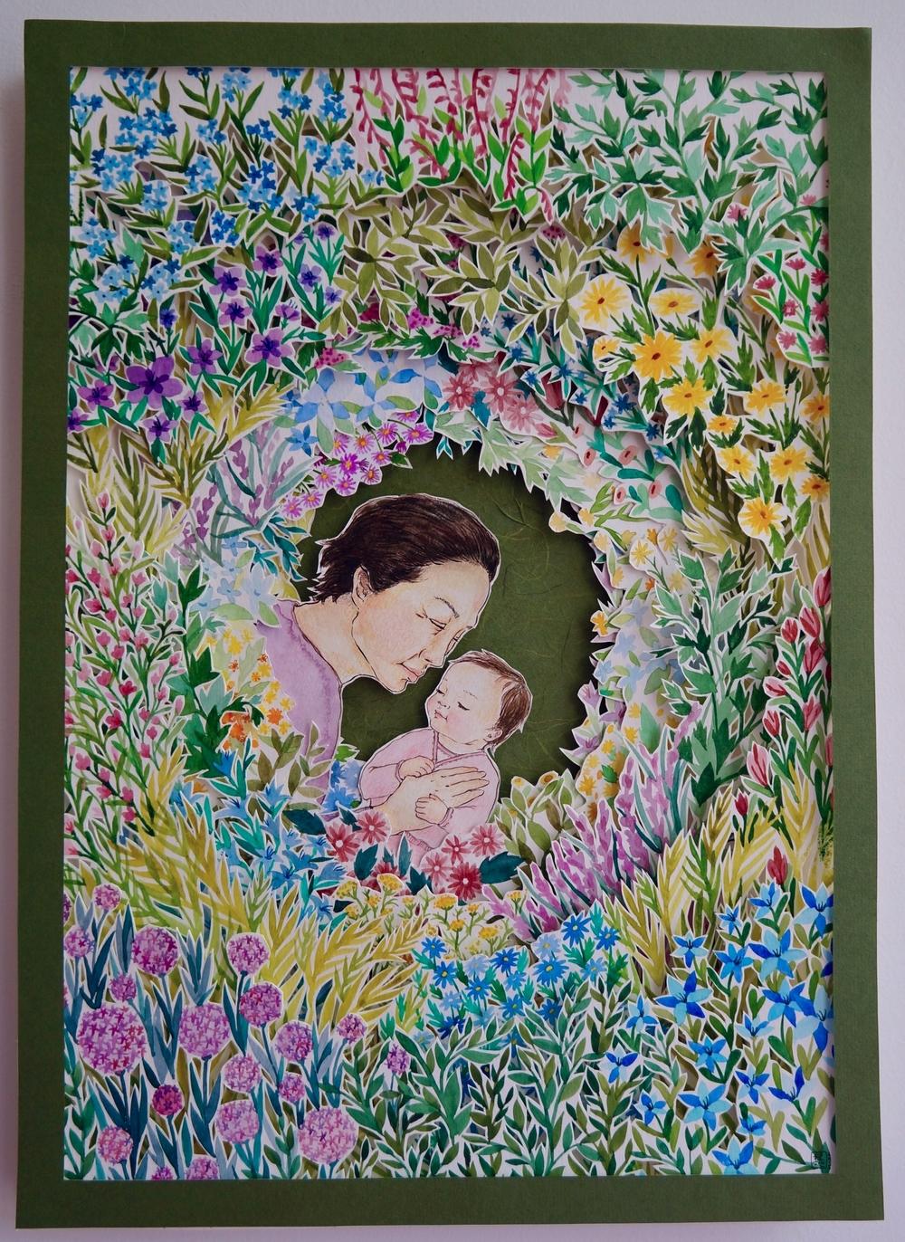 With Grandma in Flower Garden I