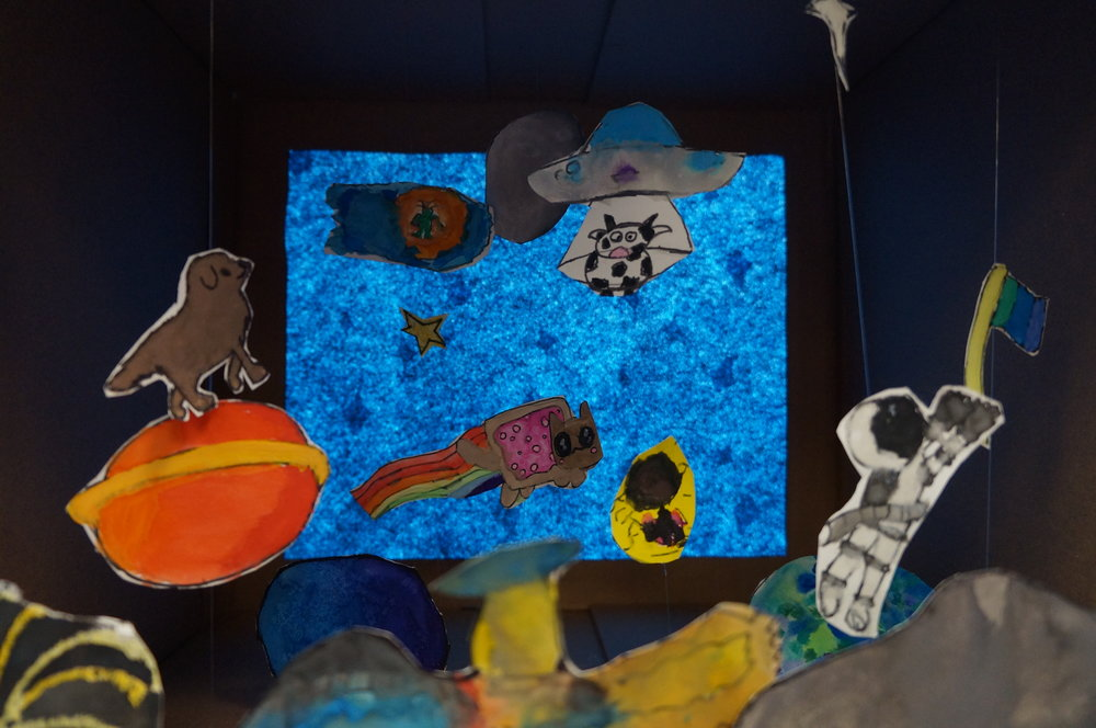 Outer-Space Diorama (Grade 5-6) ,  Light of Christ School - Artist Visit . 2017