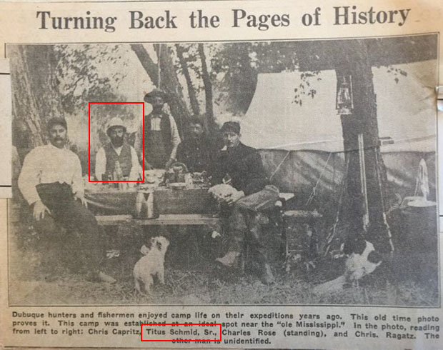 We are fortunate to have this picture of elder Titus Schmid from Dubuque's Telegraph Herald newspaper. This picture, circa 1855 before the founding of the Shooting park, shows Titus with some friends on a camping trip by the Mississippi River.