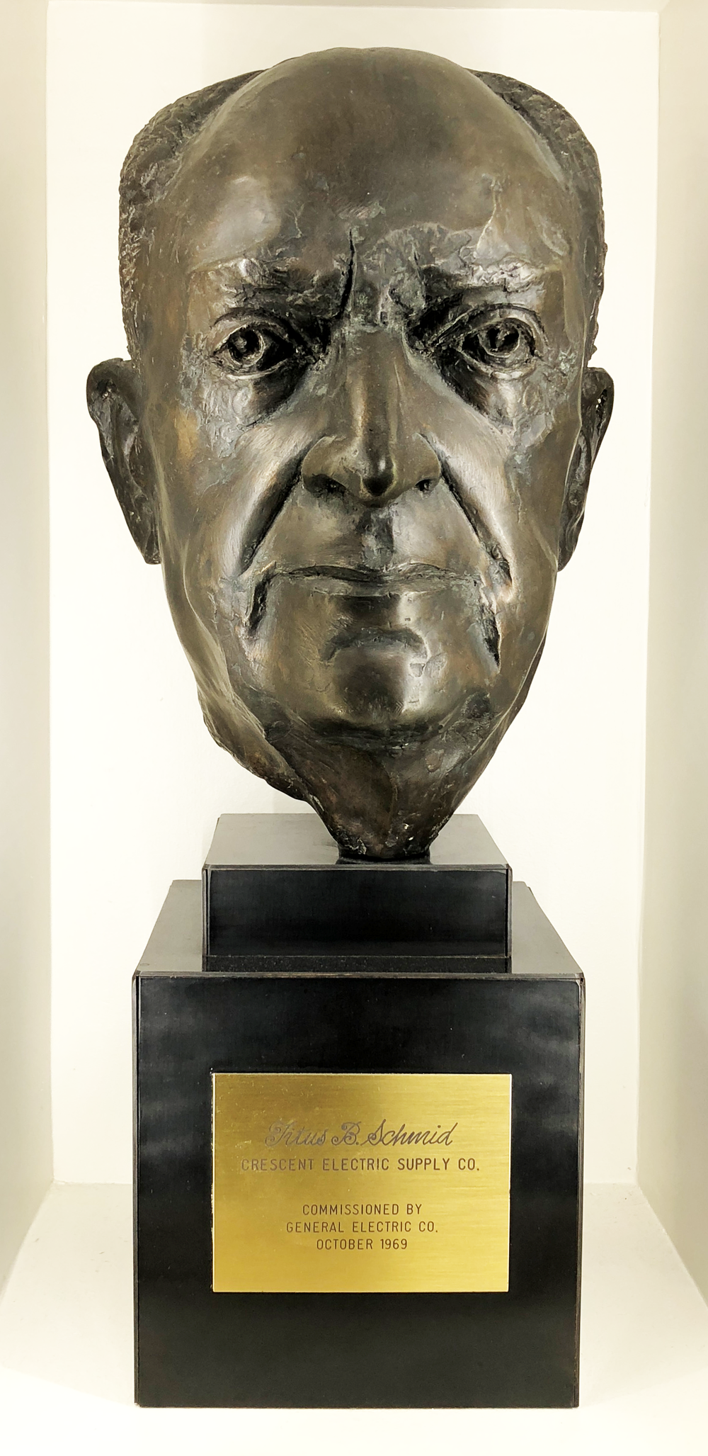 The original bust from 1969 is on display today at the Crescent Electric corporate office in East Dubuque, Illinois.