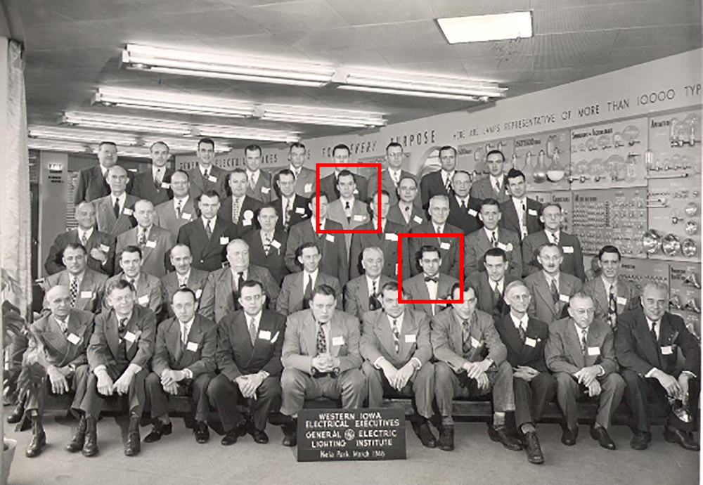 Jim and John, like their older brother Tom before them, had to learn about the electrical supply business. Above is a photo of Jim and John Schmid at the General Electric Lighting Institute in March, 1948.