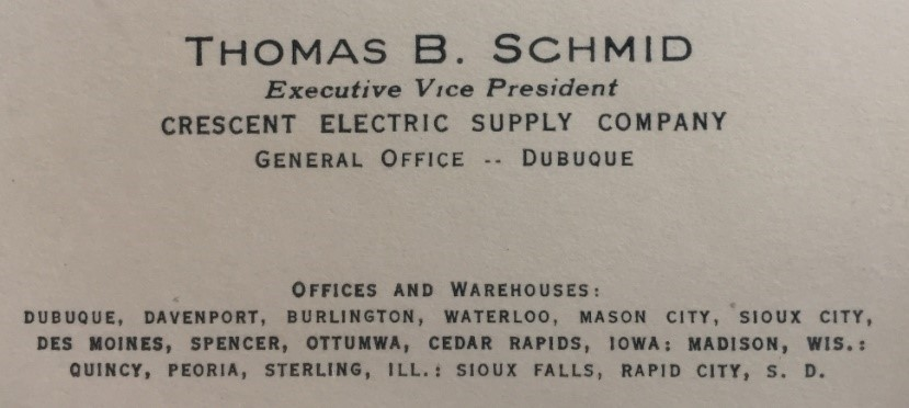 Tom Schmid's business card. ('55)