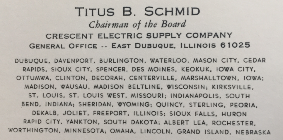 Titus' Chairman of the Board business card. ('80)
