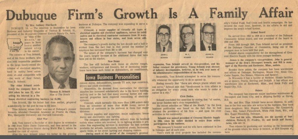 1971 newspaper article in the Telegraph Herald.