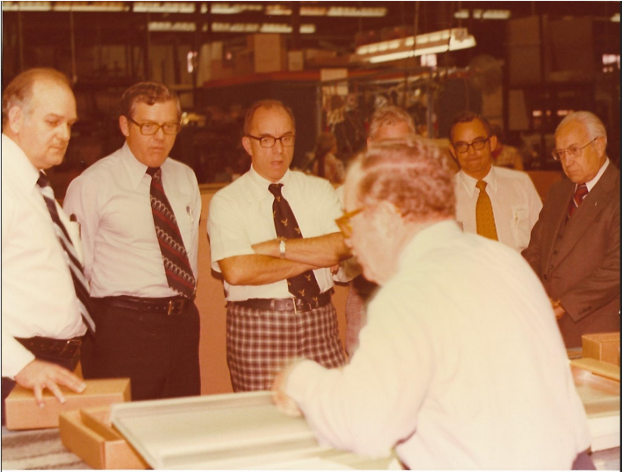 In the late 1960's Jim, his brother Bill, and Don Schlader are captured in a photograph at a lighting demonstration.
