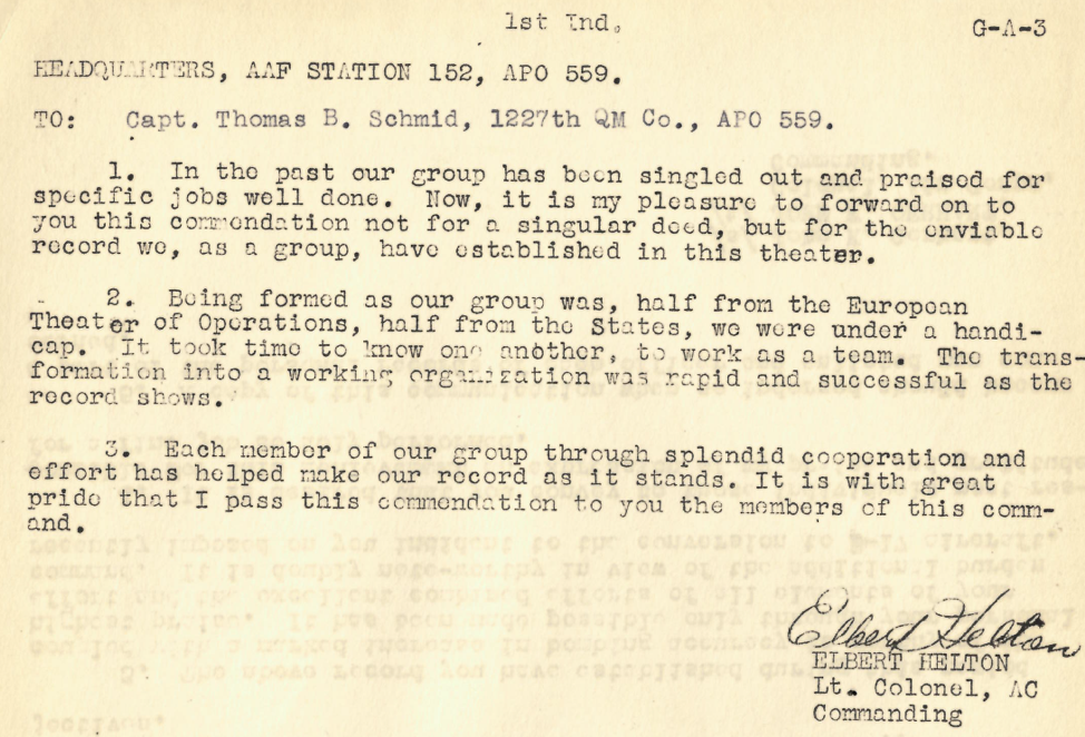 Commendation received by Captain Thomas B. Schmid on behalf of the 493rdBombardment Group.
