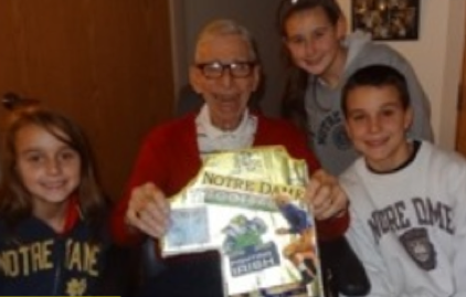 2013 of some of the Sullivan Family (grandchildren of Bill Schmid) joining their Great Uncle John to watch Notre Dame and cheer their favorite team on to victory!