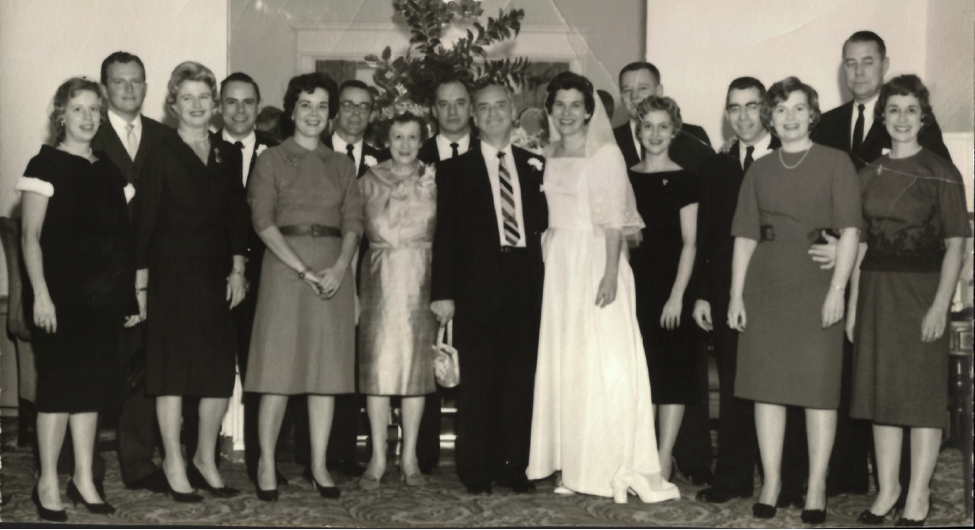 Left to right: Jeanne and Bob Piekenbrock, Libby and Tom Schmid, Bette and Bill Schmid, Doden Schmid, Jim Schmid, Titus B. Schmid, Mary Schmid, Roger and Janet Rhomberg, John and Bette Schmid, and Mogens and Mary Christiansen.