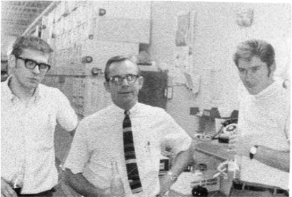 L to R: Dick Hyde, Bill Schmid, and Ken Doland in 1969 at the Waterloo branch.