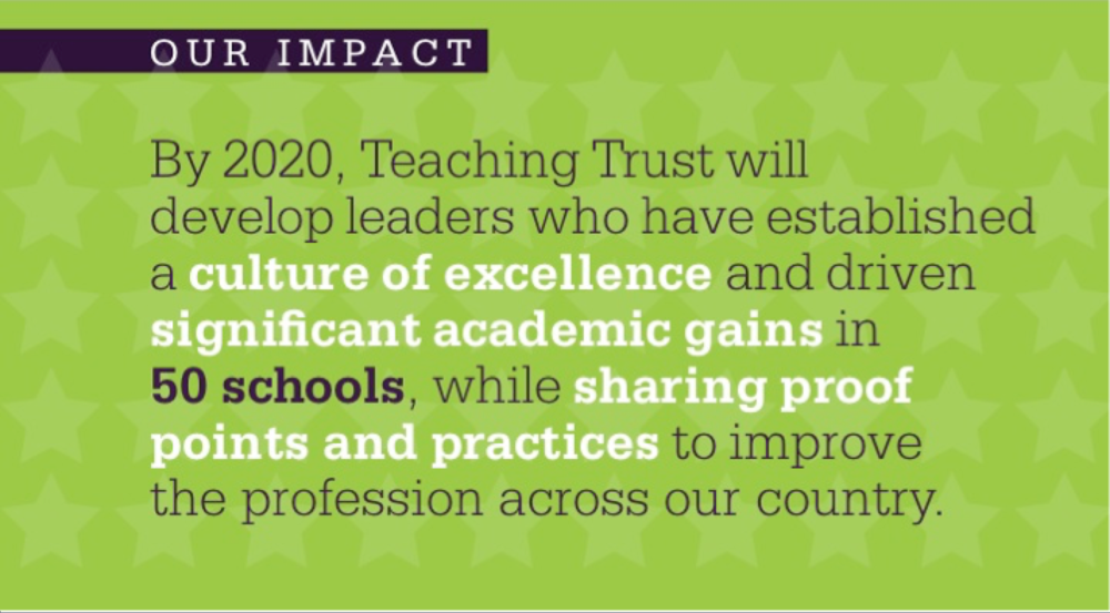Our alumni are critical to achieving Teaching Trust's desired impact of transforming urban schools.