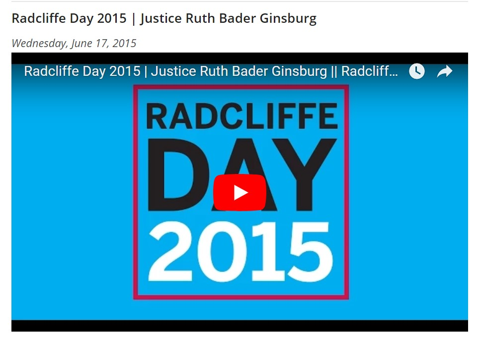 Radcliffe Day 2015: Justice Ruth Bader Ginsburg  - Lizabeth Cohen, dean of Harvard's Radcliffe Institute for Advanced Study, presents the 2015 Radcliffe Medal to Ruth Bader Ginsburg, associate justice of the Supreme Court of the United States.
