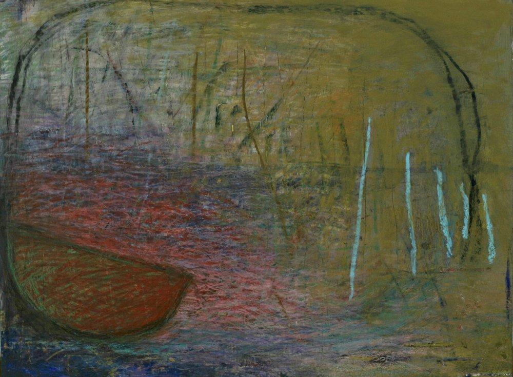 """Red Canoe"", 18"" x 24"", mixed media on wood panel."