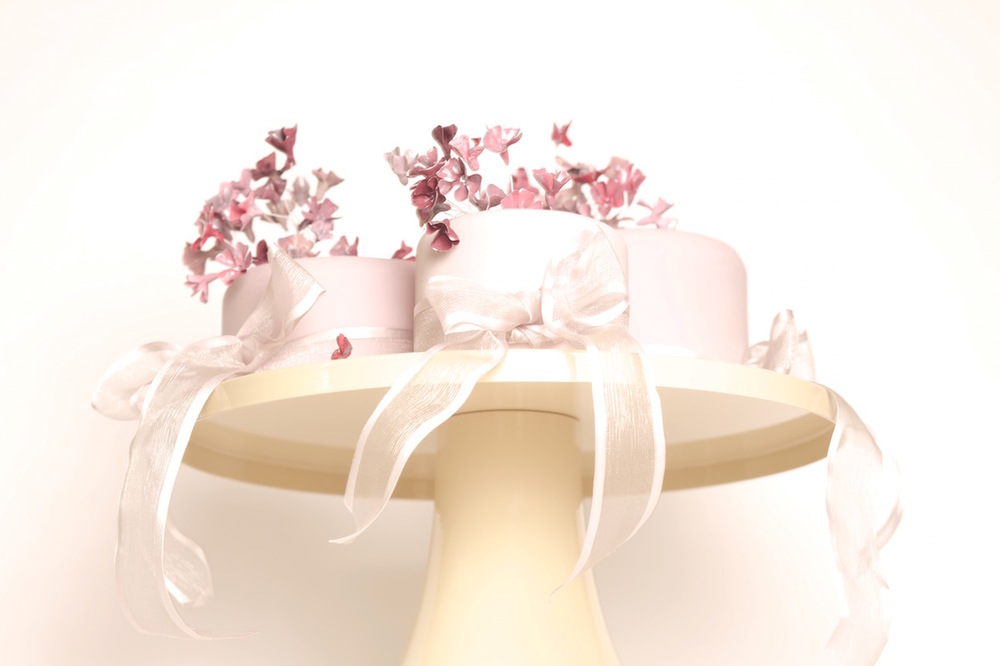 Blossom trio wedding cakes