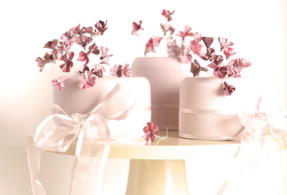 Blossom trio wedding cakes