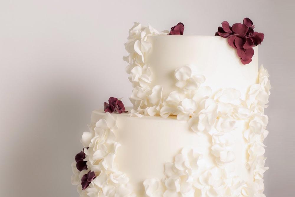 Fallen Blossoms wedding cake