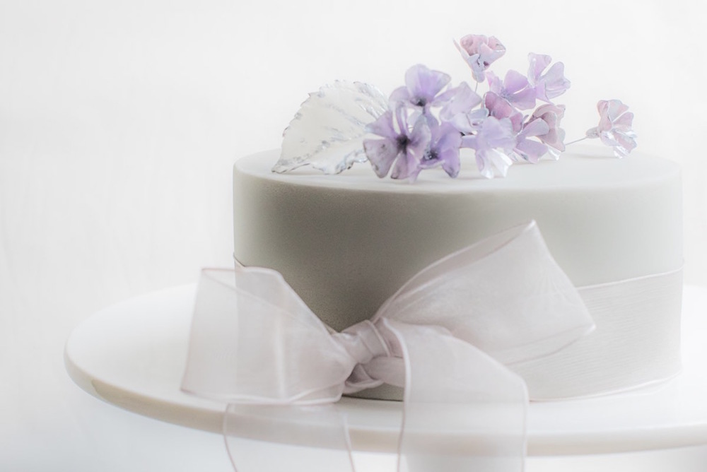 Dove grey, lilac and pewter wedding cake