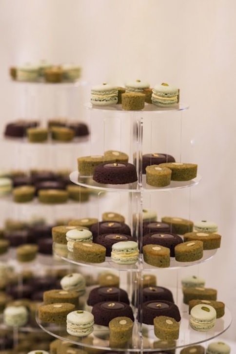Chocolate financiers, matcha teacakes, pistachio macarons
